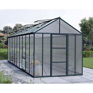 Palram Glory Anthracite Long Aluminium Apex Greenhouse with Polycarbonate Panels - 8 x 20 ft