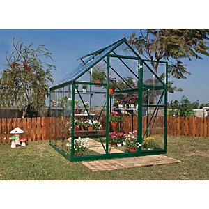 Palram Harmony Green Aluminium Apex Greenhouse with Clear Polycarbonate Panels - 6 x 6 ft
