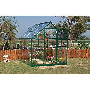 Palram Harmony Green Aluminium Apex Greenhouse with Clear Polycarbonate Panels - 6 x 8 ft
