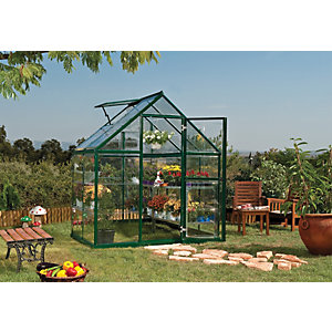 Palram Harmony Green Aluminium Apex Greenhouse with Polycarbonate Panels - 6 x 4 ft