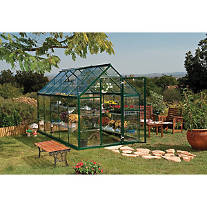 Palram Harmony Large Green Aluminium Apex Greenhouse with Polycarbonate Panels - 6 x 10 ft