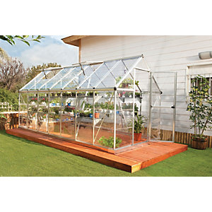 Palram Harmony Large Silver Aluminium Apex Long Greenhouse with Polycarbonate Panels - 6 x 14 ft
