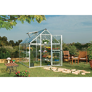 Palram Harmony Silver Aluminium Apex Greenhouse with Clear Polycarbonate Panels - 6 x 8 ft