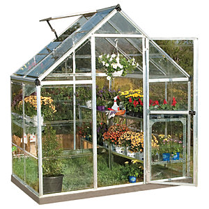 Palram Harmony Small Silver Aluminium Apex Greenhouse with Clear Polycarbonate Panels - 6 x 4 ft