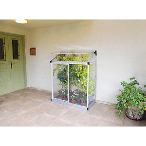 Palram Silver Aluminium Lean-To Greenhouse with Clear Polycarbonate Panels - 4 x 2 ft