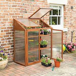 Rowlinson 4 x 2 ft Small Brown Wooden Mini Greenhouse with Poycarbonate Panels & Lifting Lid