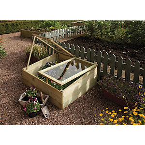 Rowlinson Natural Softwood Styrene Glazed Pent Cold Frame - 1 x 3 ft