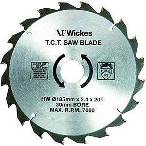 Wickes 20 Teeth Medium Cut Circular Saw Blade - 185 x 30mm