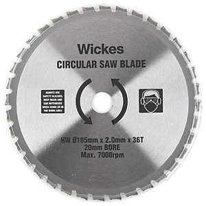 Wickes 36 Teeth Universal Wood Circular Saw Blade - 185 X 20mm