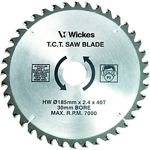 Wickes 40 Teeth Fine Cut Circular Saw Blade - 185 x 30mm