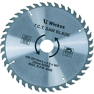 Wickes 40 Teeth Medium Cut Circular Saw Blade - 210 x 30mm