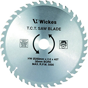 Wickes 40 Teeth Medium Cut Circular Saw Blade - 250 x 30mm