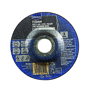 Wickes DPC 3-in-1 Cut Polish & Grinding Metal Disc 115mm - Pack of 3