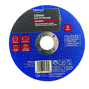 Wickes Masonry Flat Cutting Disc 125mm  Pack of 3