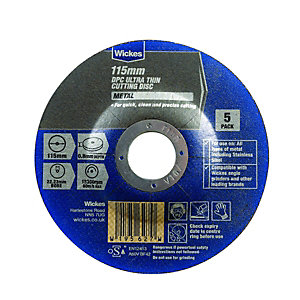 Wickes Metal Flat Cutting Disc 115mm - Pack of 5