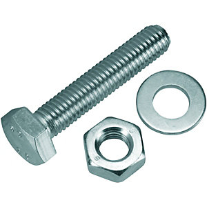 Wickes Hexagonal Set Screws - M10 x 50mm Pack of 4