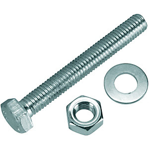 Wickes Hexagonal Set Screws - M8 x 60mm Pack of 6