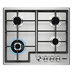 Zanussi 60cm 4 Burner Gas Hob with Cast Iron Pan Supports Stainless Steel ZGH66424XX