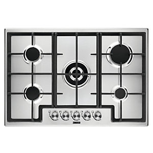 Zanussi 75cm 5 Burner Gas Hob with Cast Iron Pan Supports Stainless Steel ZGH76524XX