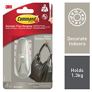 Command Medium Designer Hook - Brushed Nickel