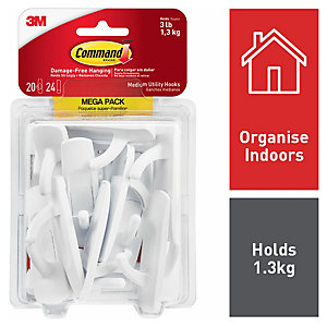 Command Medium Utility Hook - White Pack of 20