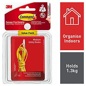 Command Medium Utility Hook - White Pack of 6