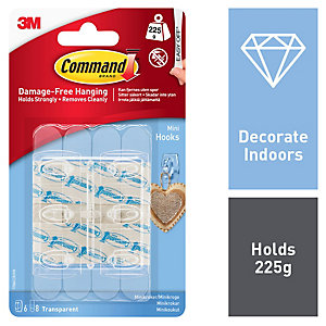 Command Mini Hooks - Clear Pack of 6