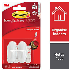 Command Small Designer Hooks - White - Pack of 2