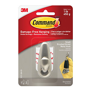 Command Small Metal Hook - Brushed Nickel
