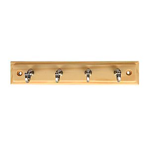 Wickes Key Tidy - Pine & Satin Nickel 230mm