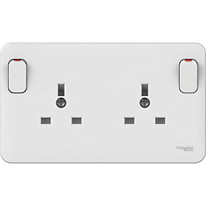 Lisse 13A 1 to 2 Gang Convertor Socket - White
