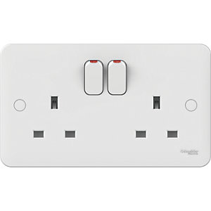Lisse 2 Gang 13A Switched Socket - White