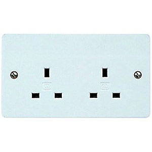 MK 13A Unswitched Twin Socket - White