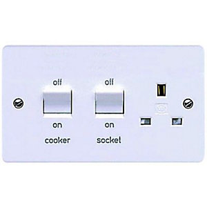 MK 45A Double Pole Cooker Switch & Socket - White