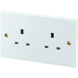 Wickes 13A Double Unswitched Plug Socket - White