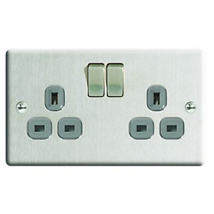 Wickes 13A Raised Plate Twin Switched Socket - Brushed Silver