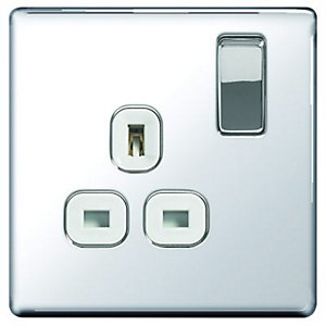 Wickes 13A Screwless Flat Plate Single Switched Socket - Polished Silver