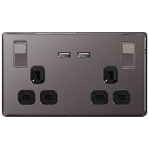 Wickes 13A Screwless Twin Switched Socket with 2 x USB Ports - Black Nickel