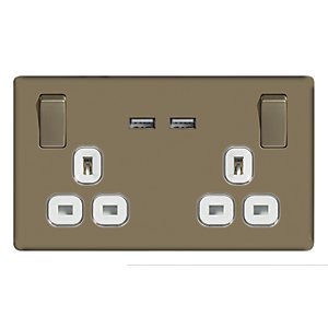 Wickes 13A Screwless Twin Switched Socket with 2 x USB Ports - Pearl Nickel