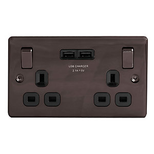 Wickes 13A Twin Switched Socket with 2 x USB Ports - Black Nickel
