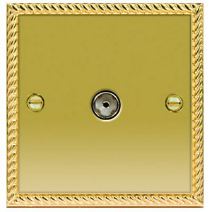 Wickes Single Coaxial Socket - Georgian Brass