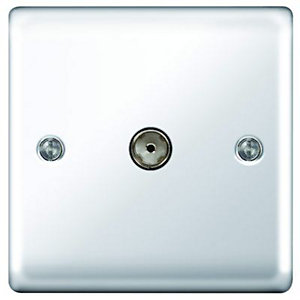 Wickes Single Raised Plate Coaxial Socket - Polished Chrome