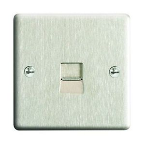 Wickes Single Raised Plate Master Telephone Socket - Brushed Steel