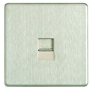 Wickes Single Screwless Flat Plate Master Telephone Socket - Brushed Steel