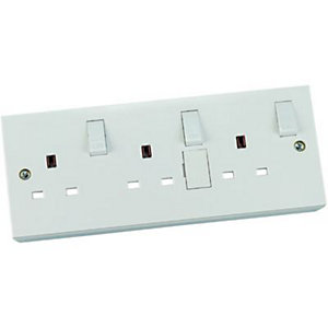 Wickes Single to Triple Socket Convertor Kit - White