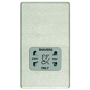 Wickes Twin Screwless Flat Plate Dual Voltage Shaver Socket - Brushed Steel
