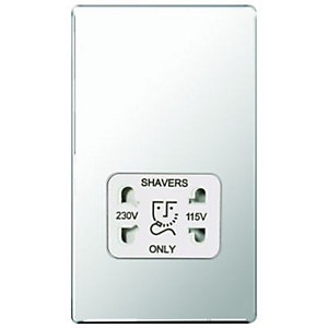 Wickes Twin Screwless Flat Plate Dual Voltage Shaver Socket - Polished Silver
