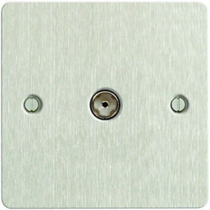 Wickes Ultra Slim Single Screwless Flat Plate Coaxial Socket - Brushed Silver