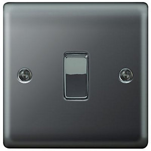 Wickes 10A Light Switch 1 Gang 2 Way Black Nickel Raised Plate