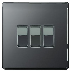 Wickes 10A Light Switch 3 Gang 2 Way Black Nickel Screwless Flat Plate
